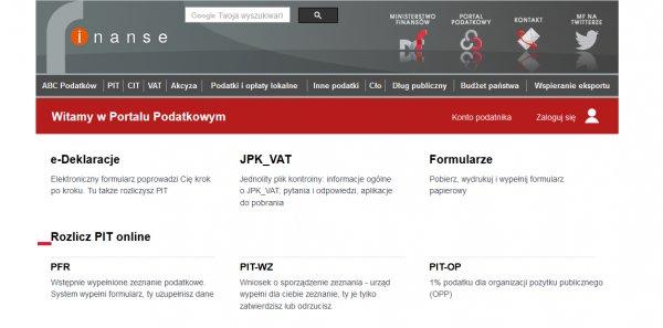 Wejście na Portal Podatkowy