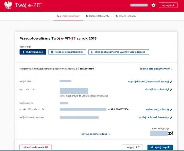 Portal Podatkowy Twój e-PIT. Dane podatkowe