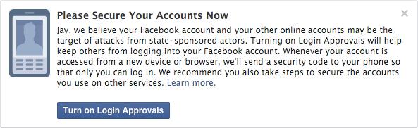 Facebook - ostrzeżenie