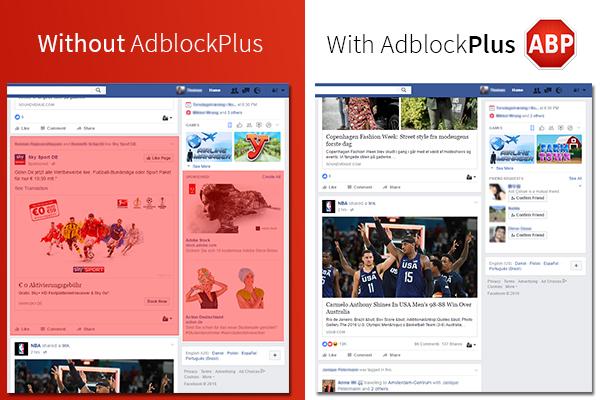 Facebook z Adblockiem i bez