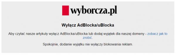 Wyborcza - wyłącz AdBlocka