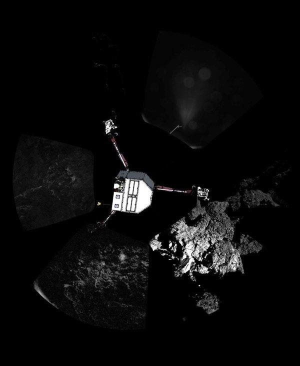 Philae - panorama z położeniem lądownika