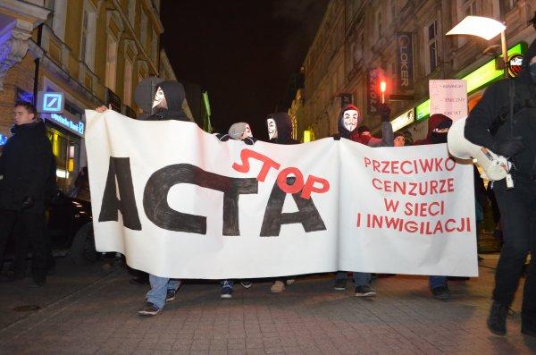 Protest przeciwko ACTA w Poznaniu