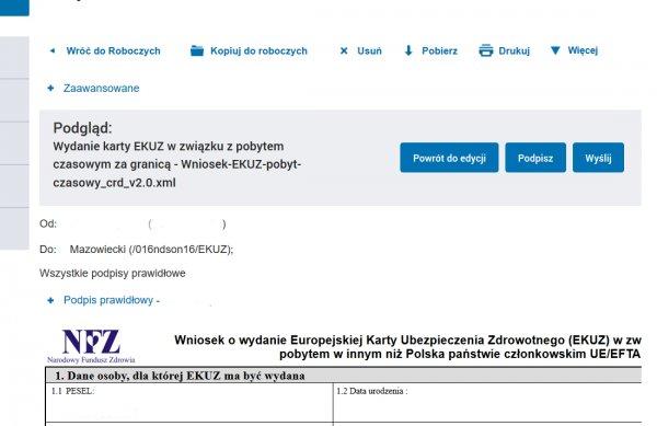 EKUZ - podgląd podpisanego wniosku do wysłania