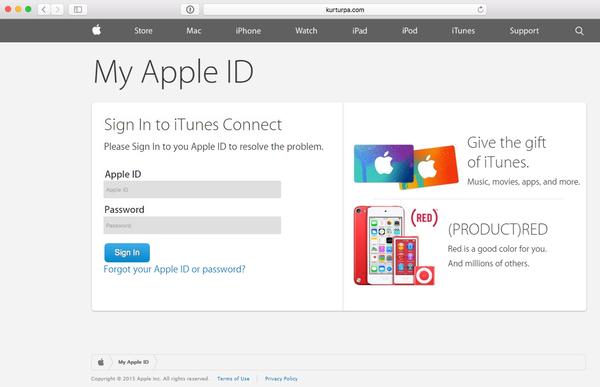 Fałszywa strona wyłudzające dane do logowania do Apple ID