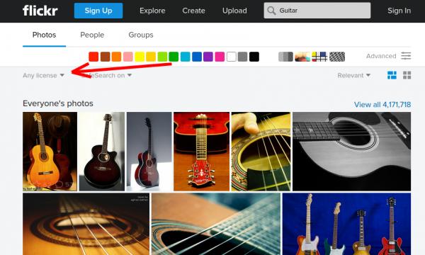 Flickr - wybór licencji