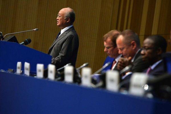 Yukiya Amano - dyrektor generalny Międzynarodowej Agencji Energii Atomowej podczas mowy inauguracyjnej w Wiedniu