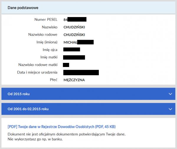 Obywatel.gov.pl - Podstawowe dane