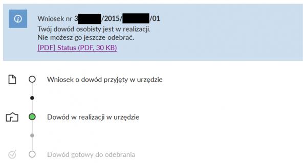 Obywatel.gov.pl - status wniosku