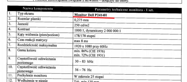 Monitor - Dell - zamówienie