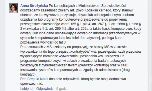 Anna Streżyńska - Facebook