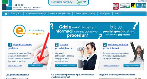 CEIDG - załóż konto