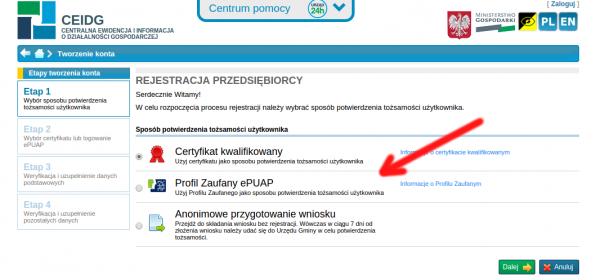 Profil Zaufany w CEIDG