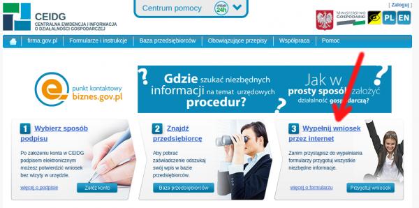 CEIDG - wniosek przez internet