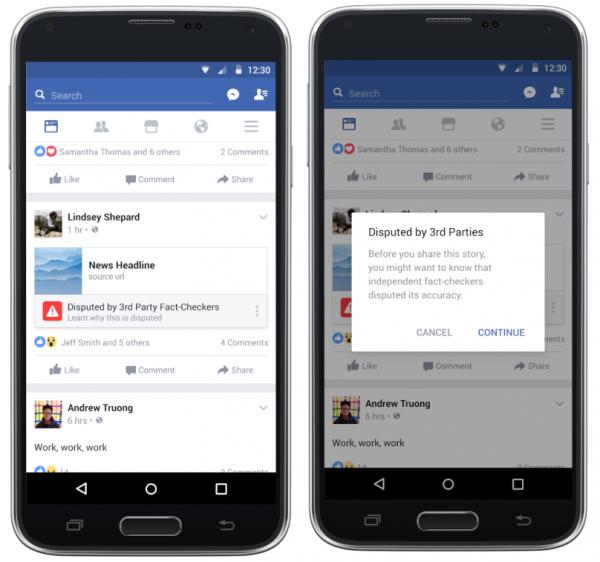 Facebook - flagowanie newsów