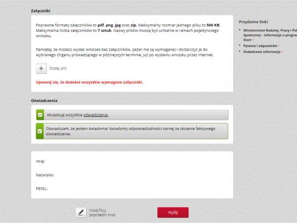 Załączniki i oświadczenia we wniosku w programie Dobry Start przez bank internetowy