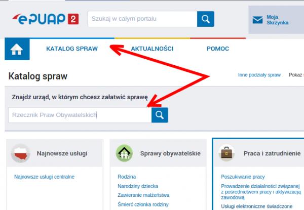 Rzecznik Praw Obywatelskich w ePUAP