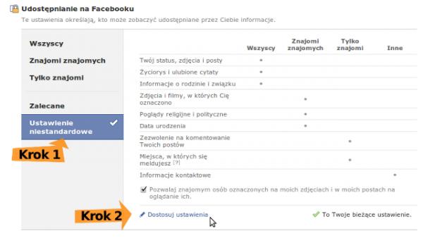 Ustawienia prywatności Facebooka