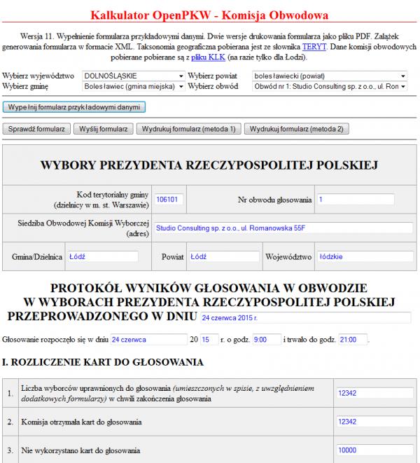 Formularz - kalkulator wyborczy OpenPKW