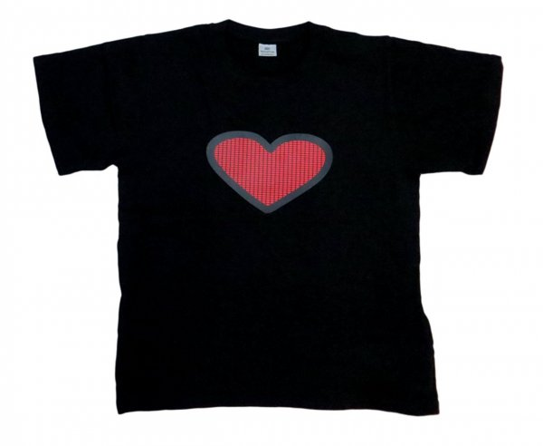 LED Flashing Sound Activated Red Heart Light Up Shirt