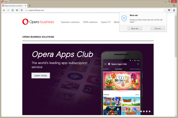 Opera - blokowanie reklam