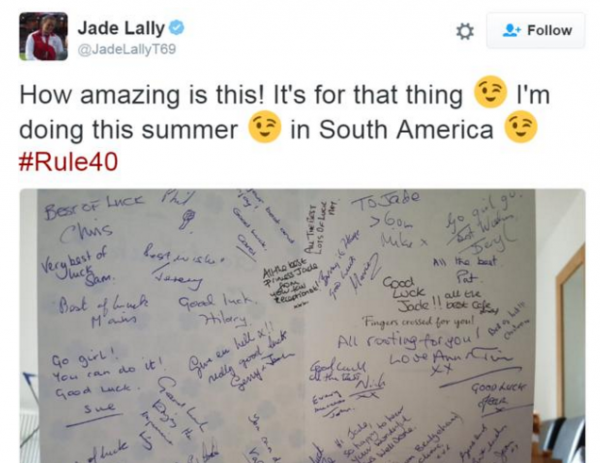 Jade Lally - tweet