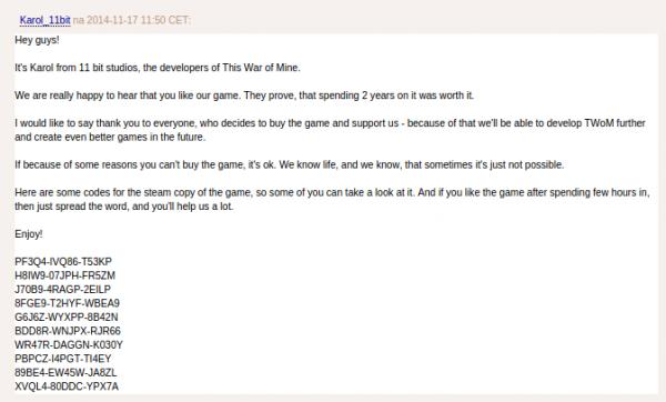 Komentarz z The Pirate Bay - zrzut