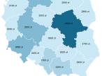 Mapa wynagrodzeń Polaków z podziałem na województwa