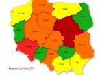 Poziom infekcji w poszczególnych województwach
