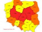 Poziom infekcji w województwach, maj 2010