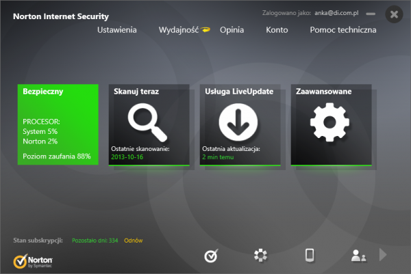 Norton Internet Security 2014 - główne okno programu