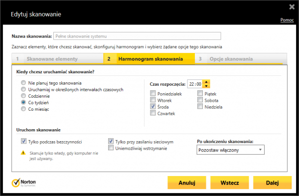Norton Internet Security 2014 - harmonogram skanowań