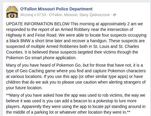 Ostrzeżenie policji z O'Fallon