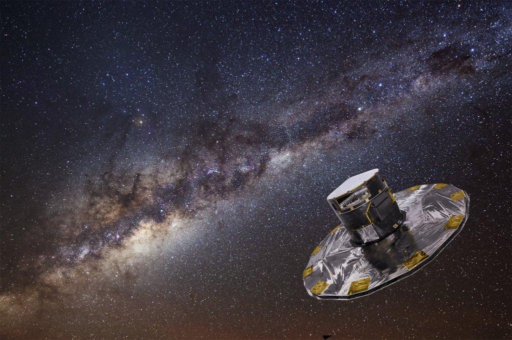 Wizja artystyczna obserwatorium Gaia podczas pracy