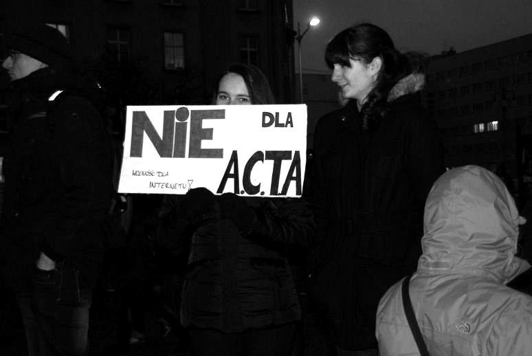Protest przeciwko ACTA w Katowicach