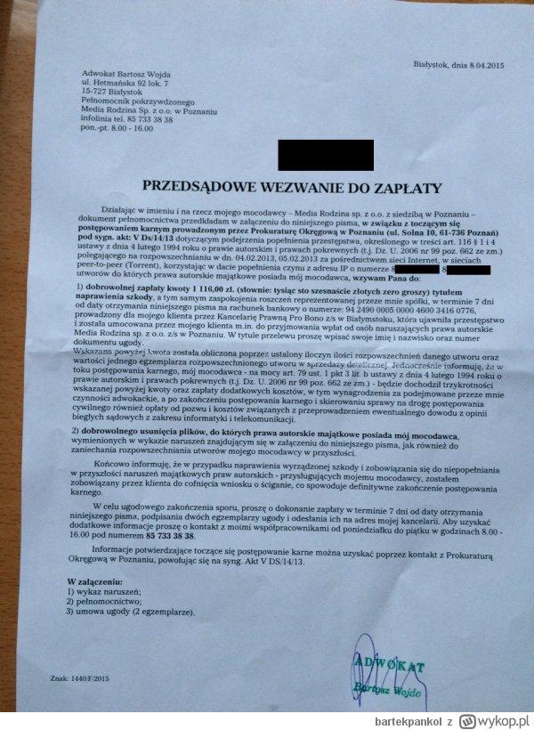 Pismo od Bartosza Wojdy