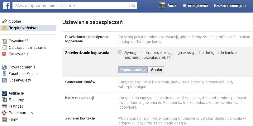 Dwuskładnikowe uwierzytelnianie - Facebook