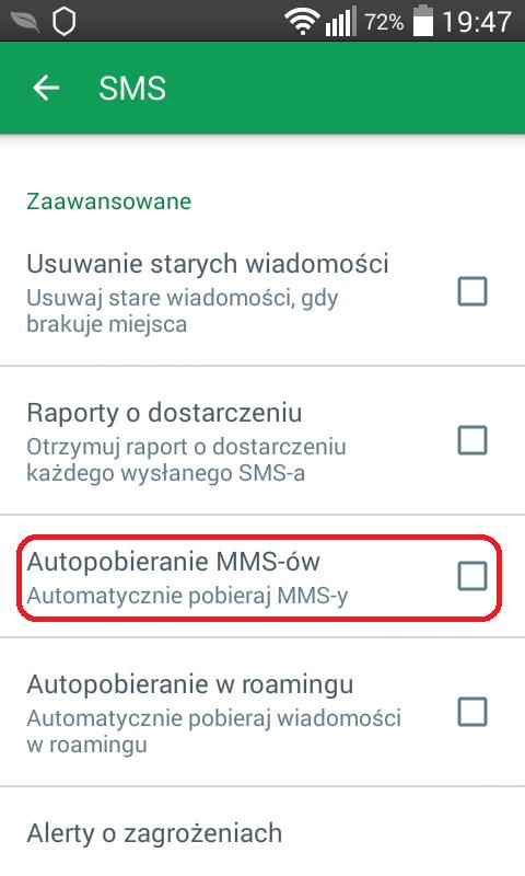 Wyłączamy automatyczne ładowanie zawartości MMS-ów