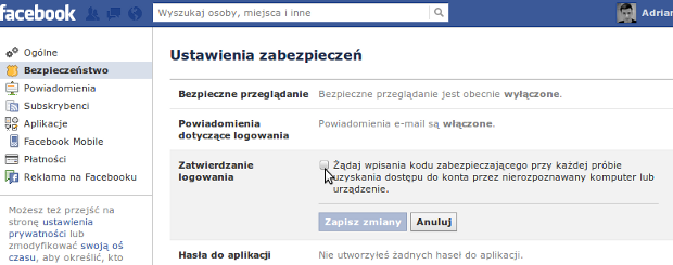 Ustawienia zabezpieczeń Facebooka