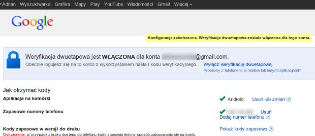 2-etapowe logowanie w Google