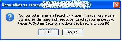 Komunikat o obecności infekcji w systemie i polecenie instalacji fałszywego pliku