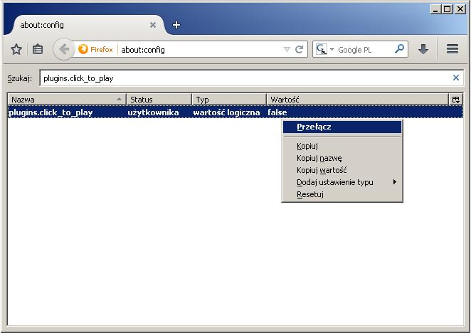 Jak włączyć funkcję Click-to-Play w Firefoksie - rys. 3