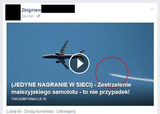 Rzekomy film z zestrzelenia malezyjskiego Boeinga