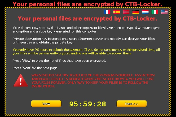 Komunikat wyświetlany przez ransomware