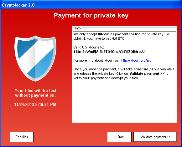 Cryptolocker 2.0 - okno wyświetlane po zaszyfrowaniu plików użytkownika