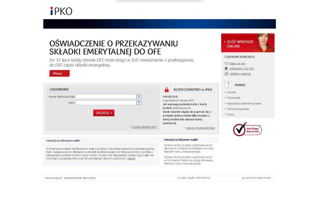 Fałszywa witryna iPKO wiernie odwzorowująca prawdziwy serwis banku