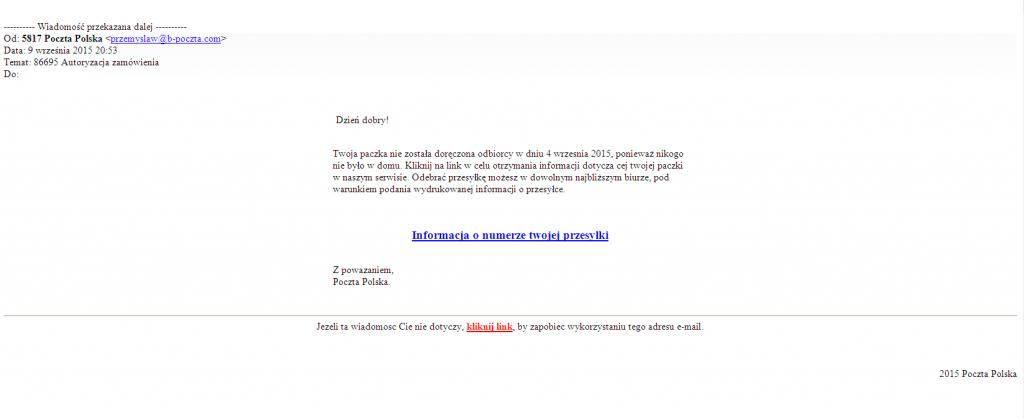 Fałszywy mail od Poczty Polskiej