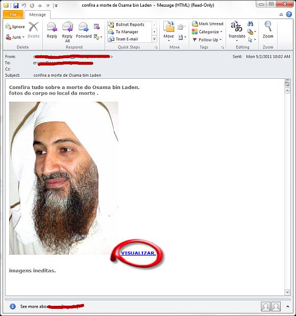 E-mail z linkiem do szkodliwej strony