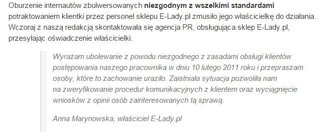 Oświadczenie E-Lady