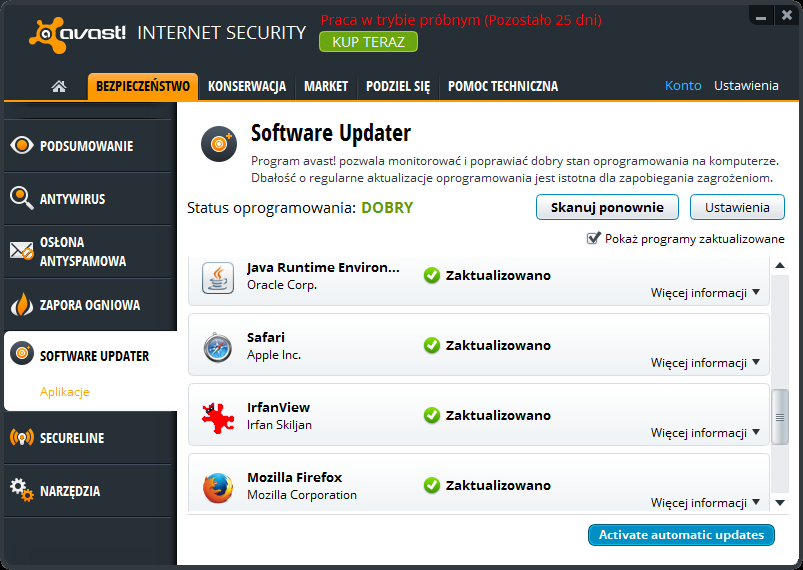 avast! Internet Security - Software Updater